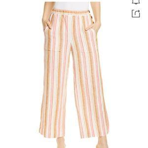 Joie Ardina Crop Wide Leg Striped Linen Pants